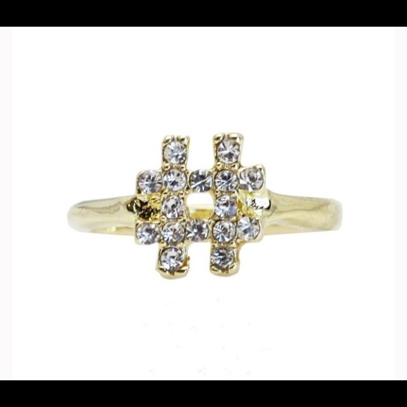 T&J Designs Jewelry - 18k Gold Plated Czech Crystal Hashtag Ring